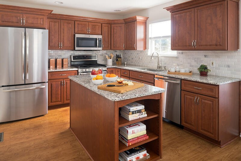 Transitional cherry cabinets
