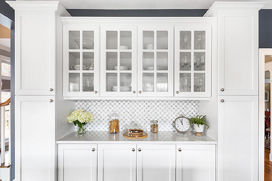 White Pantry with glass doors