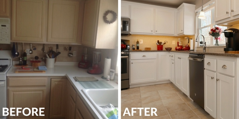 Kitchen Remodel Before and After with White Cabinets