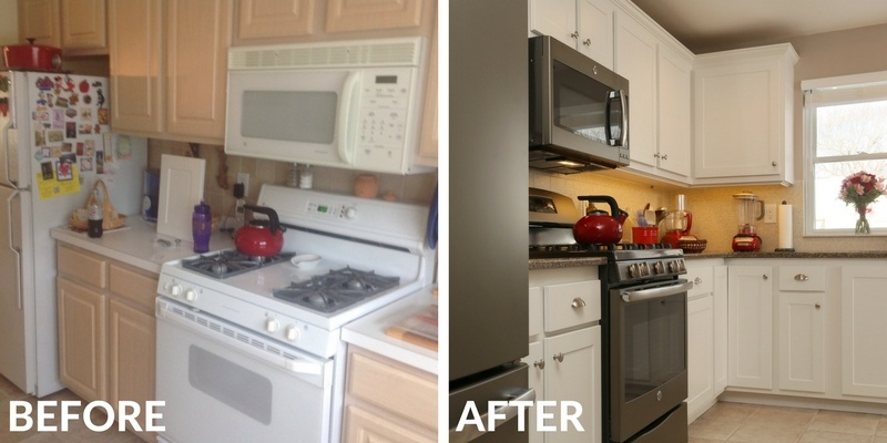 Before and After Kitchen Updated with New Stove, Countertop, and Backsplash