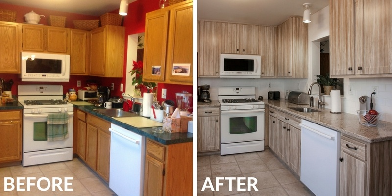 Kitchen Remodel Before and After with Barnwood Cabinets and Quartz Countertop
