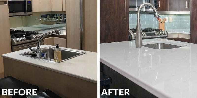Dark Kitchen Cabinets with Quartz Countertop