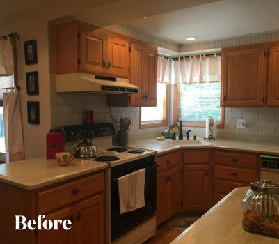 Transitional White Kitchen Design Before Photo