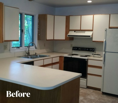 Contemporary Gray Kitchen Renovation Before