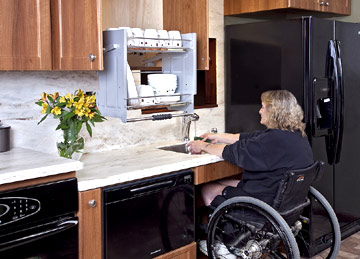 Modified accessible kitchens for the mobility challenged for Disabled kitchen designs