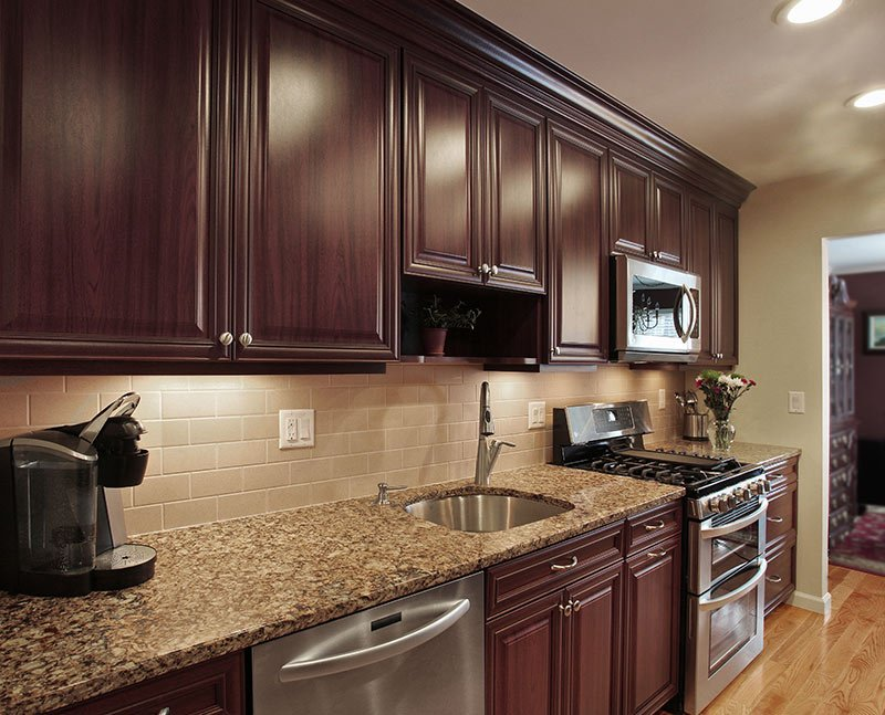 Backsplash Options: Glass, Ceramic Tile or Grout Free Corian on Granite Countertops And Backsplash Ideas  id=11178