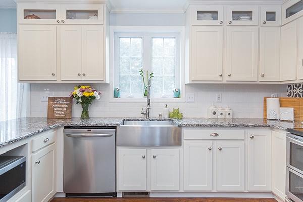 White Contemporary Kitchen with Farmhouse Sink
