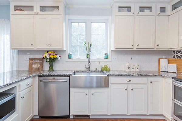 White Contemporary Kitchen with Farmhouse Sink