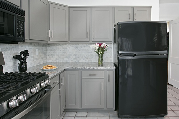 Kitchen Cabinet Refacing in Gray