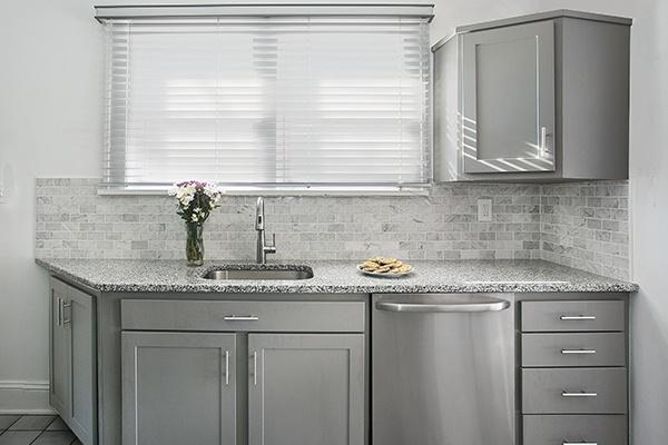 Gray Kitchen with Granite Countertops in White Sparkle