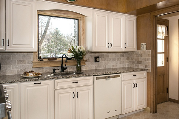 Kitchen Refacing with White Cabinets