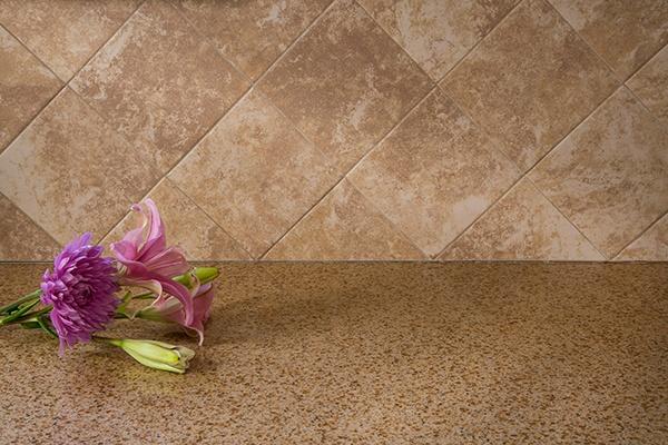 Ceramic Tile Backsplash and Quartz Countertop