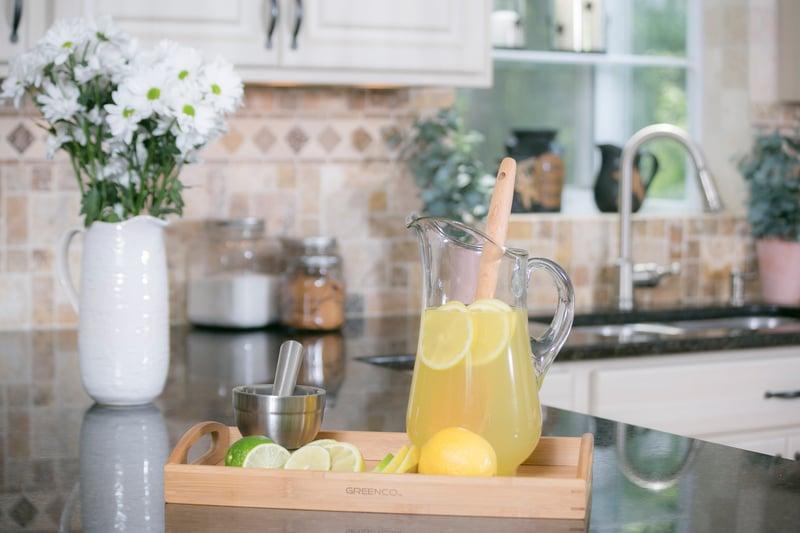 Kitchen remodel refaced cabinets countertop backsplash
