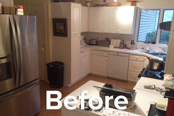 Update bland white cabinets with Fashion Gray