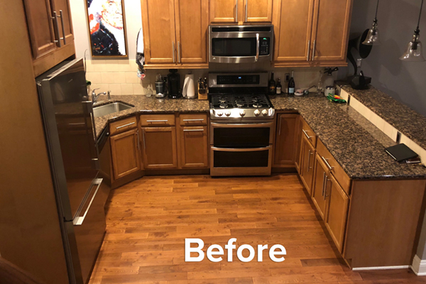 Update the old, busy oak kitchen cabinets