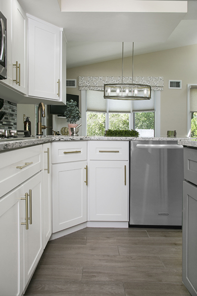 white and gray kitchen floor design