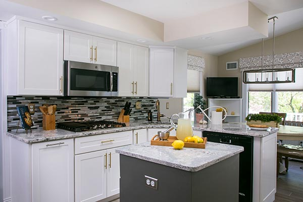 white and gray kitchen island design