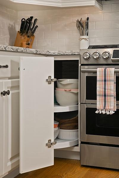 Lazy susans increase cabinet storage capacity