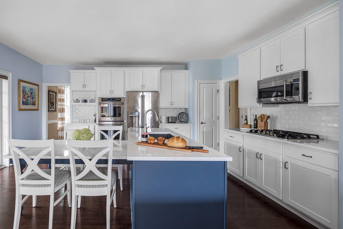 Kitchen Magic Blue and White Cabinet Refacing