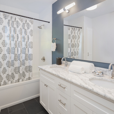 Elements Coastal inspired bathroom remodel by Kitchen Magic