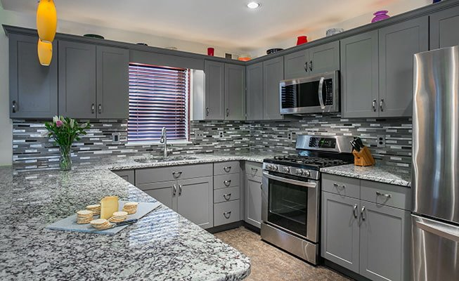 gray granite kitchen counter