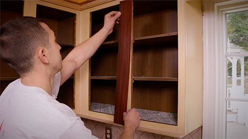 Cabinet Refacing Step 3: Apply Veneer
