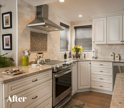 Transitional White Kitchen Renovation After Photo