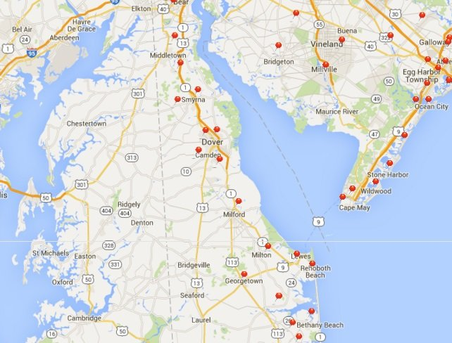 Delaware Map with Recent Customer Locations
