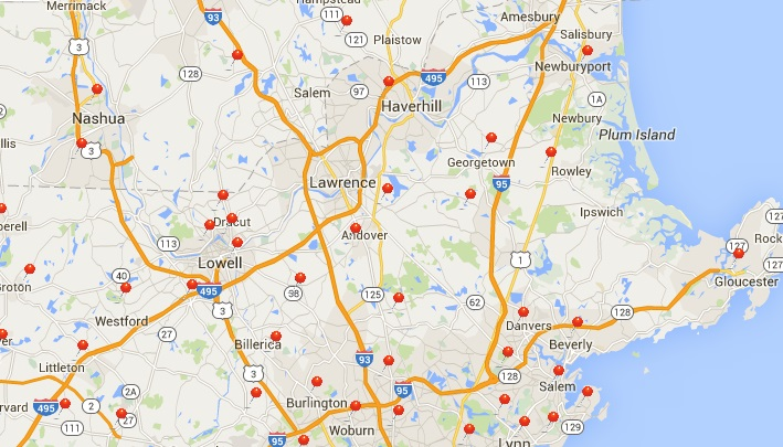 Area Map with Recent Customer Locations