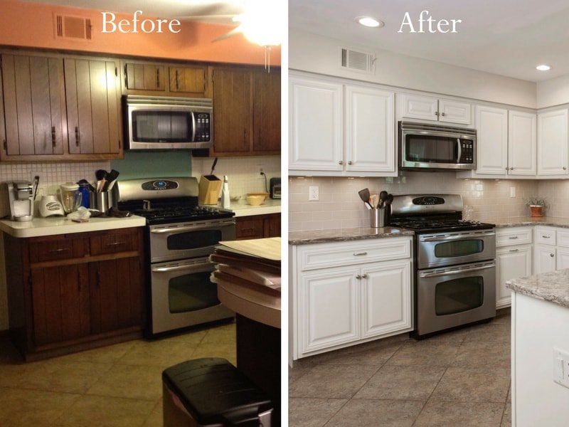 Resurfacing Kitchen Cabinets. Cabinet Refacing Before and After Kitchen  Resurfacing