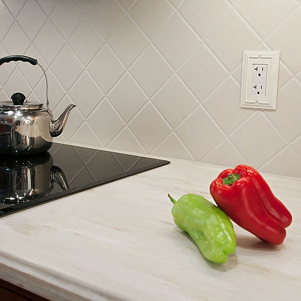 Routed Corian Backsplash