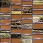 Siberian Copper  - Glass & Metal Mosaic Blend Backsplash
