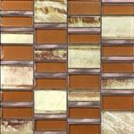 Sumatran Copper  - Glass & Metal Mosaic Blend Backsplash