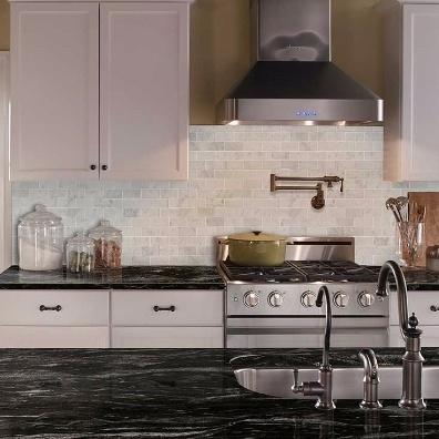 White Carrara Marble Kitchen Tile