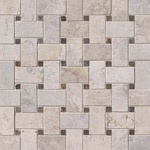Tundra Gray Basket Weave Marble Backsplash